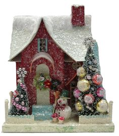 Love, love, love Christmas and Cody Foster vintage inspired houses. Picture is … Love, Love, Love Christmas and Cody Foster vintage inspired homes. Picture is of traditions at the year round Holiday Store www. Christmas Past, Christmas Projects, All Things Christmas, Vintage Christmas, Christmas Crafts, Christmas Decorations, Christmas Ornaments, Holiday Decor, Christmas Glitter
