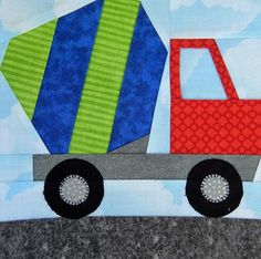 Paper-pieced cement mixer vehicle quilt block PDF pattern Slow down! Road construction ahead. This cute foundation paper-pieced 7 by 7 square cement mixer block could be used to make a quilt for boys, toddler quiet book, or a mug rug for the truck-lover in your world. This fun-to-make paper pieced truck pattern is appropriate for a confident beginner quilter. The pattern includes: -List of materials needed -Paper-piecing diagrams -Directions for block assembly See more of our paper pieced…