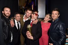 Avengers cast cuddling up at the MTV Movie Awards (and celebrating Robert Downey Jr.'s win of the Generation award).