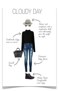 """""""Cloudy, Street Wear"""" by wiolettacher ❤ liked on Polyvore featuring Vero Moda, Ray-Ban, Acne Studios, rag & bone, H&M, CÉLINE, Winter, Fedora, turtleneck and chelseaboot"""