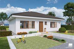 Projekt domu - O110 - Pohľad z ulice Bungalow Landscaping, 3 Bedroom Bungalow, Stone Cladding, Construction Cost, Energy Efficient Homes, Building Structure, Village Houses, New House Plans, Plan Design