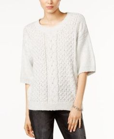Tommy Hilfiger Simone Slouchy Cable-Knit Sweater, Only at Macy's - Gray L