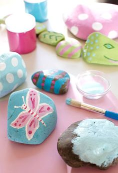Painted Rocks and 2 other Easy Summer Crafts. Pottery Barn Kids.- We have been talking about making a rock family