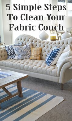 Couches come in lots of shapes and materials, with some even having removable and washable cushions. If you are lucky enough to have a cotton-blend or linen couch, you can e. My Living Room, Home And Living, Linen Couch, Clean Fabric Couch, Diy Home Decor, Room Decor, Deco Originale, Home Hacks, Cleaning Hacks