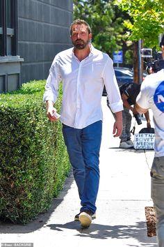 Ben Affleck looks svelte in a crisp white shirt after announcing new project with Matt Damon Casual Meeting, Katherine Schwarzenegger, Dannii Minogue, Hot Dads, Winnie Harlow, Jourdan Dunn, Crisp White Shirt, Matt Damon, Blake Shelton