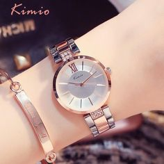 04eb803db9fe KIMIO Simple Thin Rhinestone Rose Gold Quartz Watches Women Fashion 2018 Ladies  Watch Women's Watches Dress Wristwatch For Women