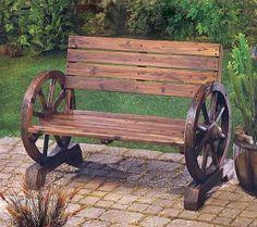 Western Stagecoach Style Wagon Wheel Garden Bench