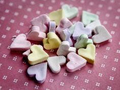 cute: homemade conversation hearts.