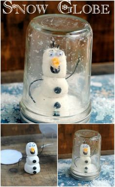 Snowman Snow Globe - 12 Magnificent Mason Jar Christmas Decorations You Can Make Yourself