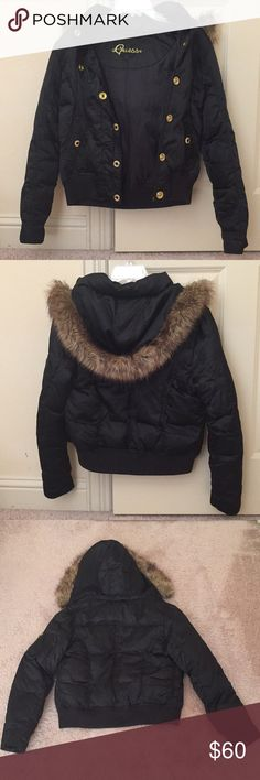 GUESS Puffer Coat GUESS- EUC Black Puffer Coat. 55% Duck Down, 45% Waterfowl Feathers. Black with gold buttons and detailing. Buttons and zippers have guess logos. Mini pocket inside. Hood is fur lined and can be detached by zipper. Zipper closure as well as button closure. Excellent quality so it's very warm, it's also in great condition. Will bundle and consider reasonable offers, feel free to ask questions or request more pics! :) Guess Jackets & Coats Puffers