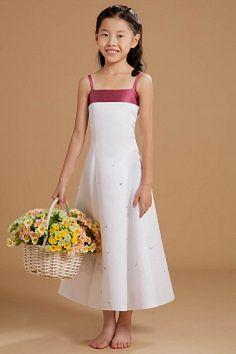 Straps Sweet White Flower Girl Dresses - Order Link: http://www.theweddingdresses.com/straps-sweet-white-flower-girl-dresses-twdn1133.html - Embellishments: Beading , Flower , Sequin; Length: Floor Length; Fabric: Elastic Satin; Waist: Natural - Price: 73.96USD