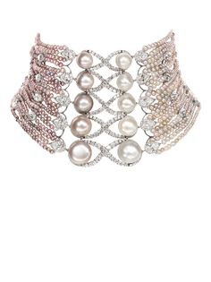 bogh art natural pink pearl and diamond collar