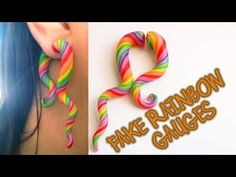 ▶ Tutorial: Rainbow Swirl *Fake Stretched Ear* Large Gauge Earring Polymer Clay / Arcilla Polimérica - YouTube