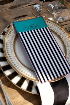 black white & gold place setting