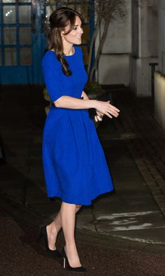 The Duchess of Cambridge attended the Fostering Excellence Awards at BMA House in London in a fit-and-flare royal blue dress.