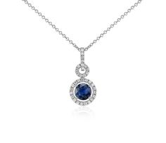 Floating Sapphire and Diamond Round Twisted Pave Pendant | #Jewelry #Necklace #Accessories
