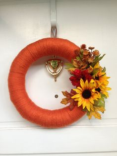 Fall Yarn Wreath With Harvest Sunflower Bouquet