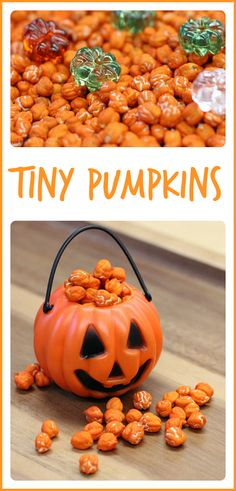 """Fine motor fun for the kids with deliciously scented """"tiny pumpkins"""".  Perfect for the fall! - repinned by @PediaStaff – Please Visit ht.ly/63sNtfor all our ped therapy, school & special ed pins"""