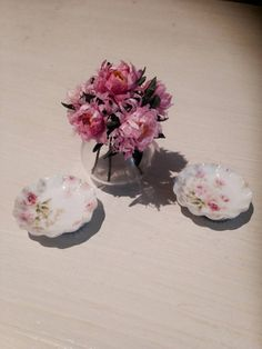 Bouquet flores y platos decorativos por minismarillum en Etsy