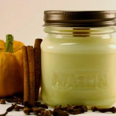 Wood Wick Soy Jar Candle Pumpkin Spice Scented 8 oz Mason Jar | blackberrythyme - Candles on ArtFire