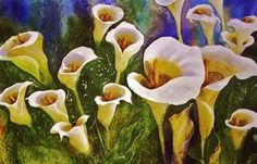 watercolor - Arum Lilies by Jeanette Helen Dethlefs