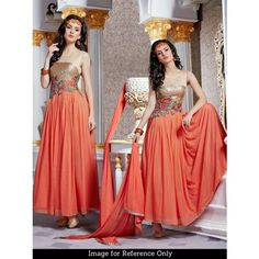 Shop Attire Orange Designer Gown by Ellis Harvey online. Largest collection of Latest Dresses, Gowns and Kaftans online. ✻ 100% Genuine Products ✻ Easy Returns ✻ Timely Delivery