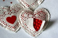 DIY Doily Candy Hearts.. so cute!