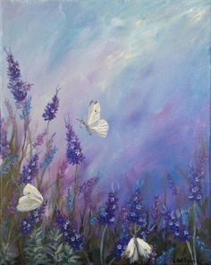 Lavender in Summer Floral Acrylic Painting with Butterflies