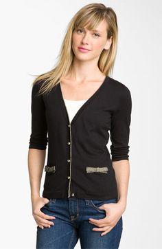 Frenchi® Metallic Bow Pocket Cardigan (Juniors)   Nordstrom