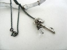 Silver Necklace With Key Heart And Czech Glass Charms