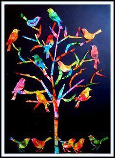The tree of birds - The turn of my ideas - - Art Auction Projects, School Art Projects, Classe D'art, Collaborative Art, Art Classroom, Art Activities, Tag Art, Bird Art, Art Education