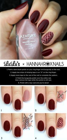 Burgundy nails with nude/negative space chevrons
