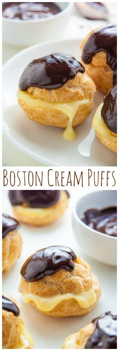 Boston Cream Puffs- Boston Cream Puffs There are three parts to these Boston Cream Puffs: the luscious cream filling, the pastry shell (pâte à choux), and the chocolate ganache. Just Desserts, Delicious Desserts, Dessert Recipes, Yummy Food, Quick Dessert, French Desserts, Pastry Recipes, Cooking Recipes, Kitchen Recipes