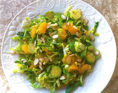 St Patrick's Day Side Dishes- Brussels Sprouts Salad with Almonds & Mandarin Oranges from Cooking in Red Socks Sprouts Salad, Brussel Sprout Salad, Brussels Sprouts, Mandarin Orange Salad, Mandarin Oranges, Veggie Recipes Healthy, Vegetable Recipes, Easy Eat, Dinner Entrees