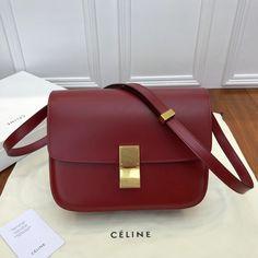 Celine Medium Classic Box bag - Red Calf Leather Celine Classic Box c40d32409fc80