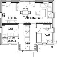 Stadthaus Grundriss Erdgeschoss mit 84,63 m²