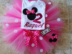 Your princess will look amazing in this personalized 3 piece birthday tutu set! The tutu skirt has pink and fuschia tulle with polka dots and a pink polka dots bow. Plus a glitter minnie mouse on the Minnie Mouse Birthday Theme, Minnie Mouse Party, 1st Birthday Girls, 2nd Birthday Parties, Birthday Tutu, Birthday Outfits, Birthday Ideas, Cupcake Birthday, Princess Birthday