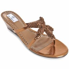 Hot in Hollywood Beaded Starfish Wedge Sandal at HSN.com