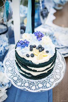Blue Naked Cake