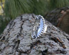 Sterling Silver Saddle Ring Featuring a Silver Bunny with Roping Detail, Layered Textured Silver. Nature Bunny Rabbit Boho Ring. US 7.25 by QuietTimeJewelry on Etsy
