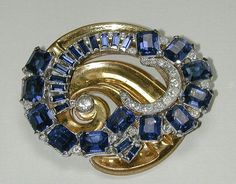 Signed McClelland Barclay Blue and Clear Rhinestone Pin