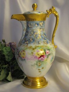 Stunning 1800's French T&V Limoges Chocolate Pot Dragon Handle Gorgeous Hand Painted Floral Sprays Delicate Forget-me-nots Exceptional Raise...
