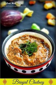 BRINJAL CHUTNEY / BADANEKAYI CHUTNEY / KATHRIKAI CHUTNEY | Cook With Smile
