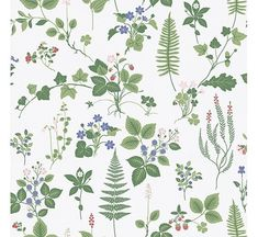 Vibrant and full of life, this Scandinavian wallpaper will transform rooms into a garden dream. Strawberry bushes, green ferns and dreamy bluebells pop against a crisp white backdrop. Stormare is an unpasted, non woven wallpaper. Fern Wallpaper, Botanical Wallpaper, Kitchen Wallpaper, White Wallpaper, Wallpaper Samples, Computer Wallpaper, Wallpaper Roll, Wallpaper Ideas, Scandinavian Wallpaper
