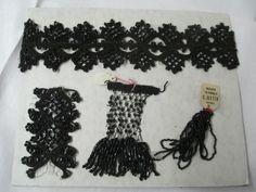 Antique jet glass beads Dress Mourning appliques accessories pieces