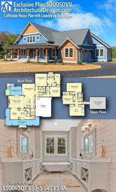 Introducing Architectural Designs Exclusive Country Craftsman Home Plan with 3 – 5 Bedrooms 3 full baths and 1 half bath in Sq Ft. Where do YOU want to build? Dream House Plans, House Floor Plans, My Dream Home, Dream Houses, Nice Houses, Amazing Houses, The Plan, How To Plan, Bungalow