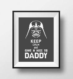 Star Wars cross stitch pattern Darth Vader Keep Calm..