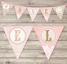 Rustic Lace Light Cowgirl Birthday Printable Banner Shabby Chic Country horse Theme girl Rustic vintage Download Bunting Vintage