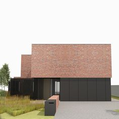 Raf Segers Architect | Woning SB Maaseik Modern Architecture Design, Brick Architecture, Architecture Visualization, Interior Architecture, Brick Facade, Facade House, Brick Works, House Elevation, Exterior Design