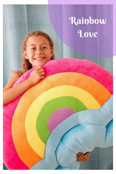 Perfect for slumber parties, reading nooks, playrooms, and bedrooms. Large Floor Pillows, Rainbow Bedroom, Slumber Parties, Reading Nooks, Decorative Pillows, Playrooms, About Me Blog, Bloom, Diy Projects